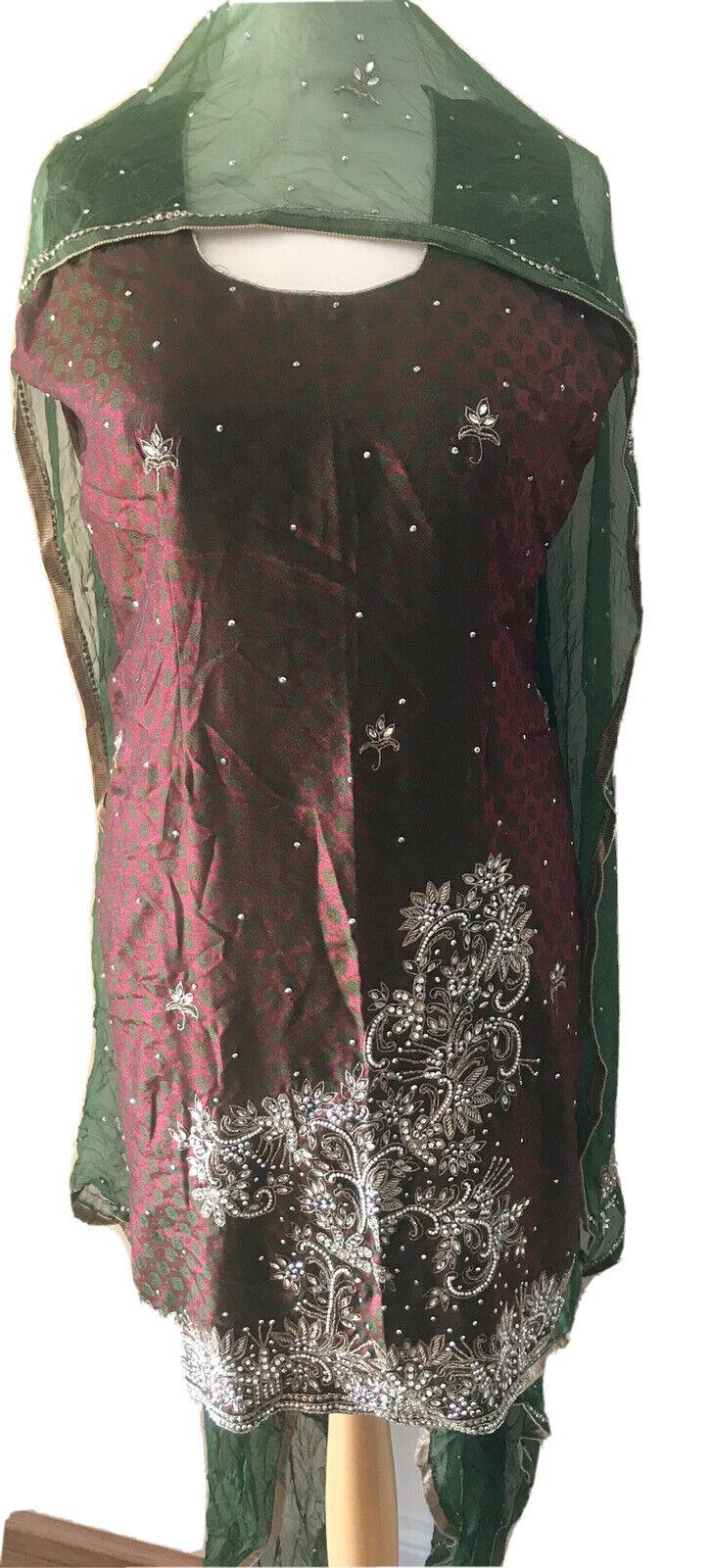 Indian Bollywood Pakistani Salwar Kameez Suit 3piece Embellished Plus Size