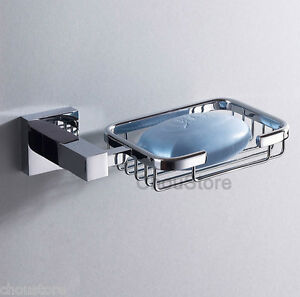 Image Is Loading Modern Square Brass Chrome Bathroom Soap Dish Wall