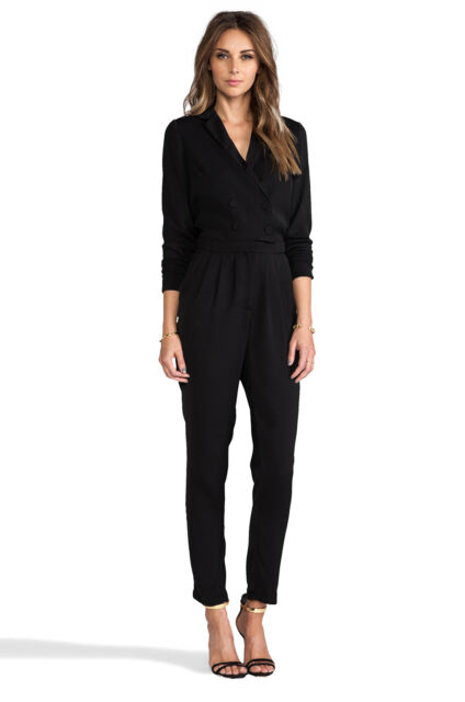 Line & Dot DOUBLE BREASTED JUMPSUIT Black XS