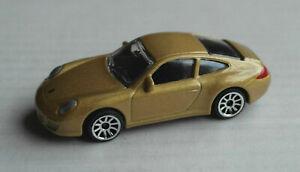 Majorette-Porsche-911-Carrera-goldmetallic-Sportwagen-Auto-Sports-Car-Kult-gold