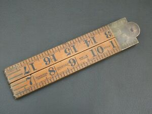 "Vintage boxwood & brass 4 fold 24"" rule ruler No 1167 by Rabone"