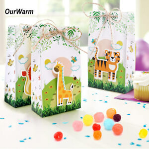 Details About 6pcs Animal Theme Paper Candy Box Kids Jungle Birthday Party Treat Gift Bags Box