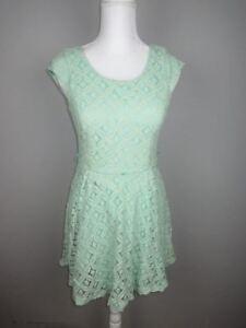 dc4b196b1 Details about A. Byer junior's size 3 Mint Green Lace Cut out Back Skater  Dress CK43