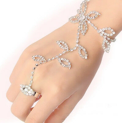 Full Crystal Rhinestone Leaf Hand Harness Bracelet Slave Chain Link Finger Ring