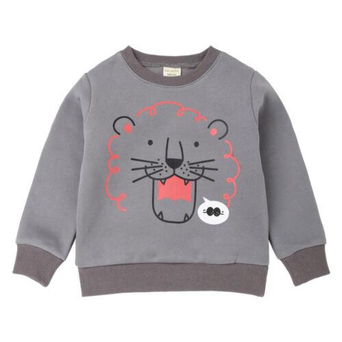 Children Kid Boy Cartoon Lion Letter Cotton Warm Top Sweatshirt Pullover Clothes