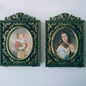 Vintage ornate victorian style photo frames set of 2 vtg brass & velvet pictures