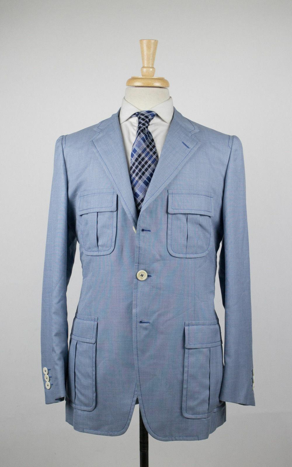 New D'AVENZA Blau wolleBlend 3 Button Sport Coat Blazer 50 40 R  2995