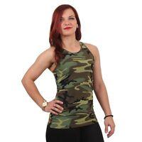 Womens Ladies Woodland Workout Army Camo Performance Yoga Snug Tank Top Shirt
