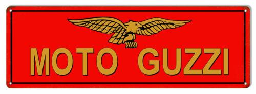 "Moto Guzzi Motorcycles Motor Oil Gas Sign 8/"" x 24/"""