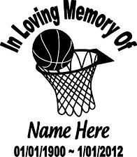IN LOVING MEMORY OF PERSONALIZED BASKETBALL CUSTOM VINYL DECAL STICKER CAR