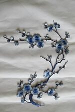 """#6767I 10-5/8"""" Bule Quince, Sakura Flower Embroidery Iron On Applique Patch"""