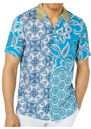 Tasso Elba Mens Button Front Shirt Blue Multicolor Patchwork Short Sleeve S-3XL