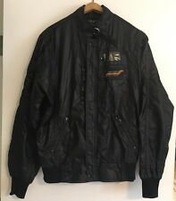 STYLE AUTO Carrera True Vintage Rare 1980's -Black Nylon Racing Jacket Coat Sz L