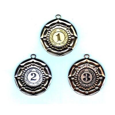49 Exklusiv Medaillen silber #665 mit Band + Emblem (Turnier Pokal Medaille)
