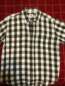 Details About Large Mens Black And White Long Sleeve Checkered Button Down Shirt Ems