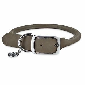 Bond-amp-Co-Gray-Rolled-Leather-Dog-Collar-For-Neck-Sizes-12-15-Small