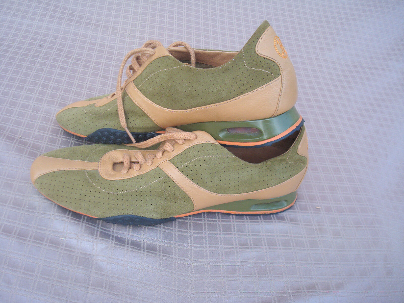 NEU Cole Haan Beige Leder Green Suede Damens Lace up Air Sneakers Schuhes 8