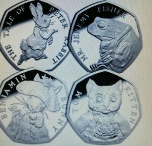 2017 tous 4 Beatrix Potter Set complet de 50p Coin's Lapin, Bunny, Fisher, chaton