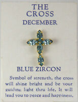 6030267 December Blue Zircon Cz Birthstone Cross Lapel Pin Christian Tie Tack Br on sale