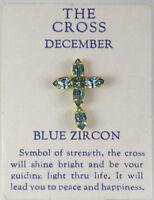 6030267 December Blue Zircon Cz Birthstone Cross Lapel Pin Christian Tie Tack Br on sale