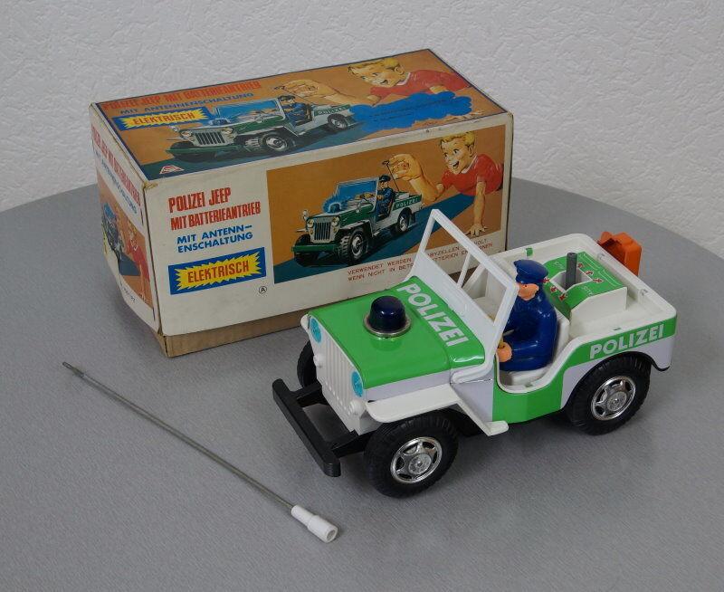 Altes T.N Blechauto Polizei Jeep Blechspielzeug Antennenschaltung 60er Jahre OVP