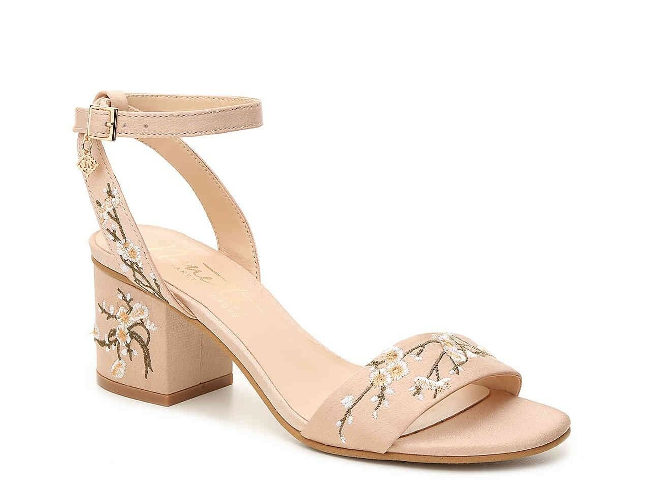 BHLDN  Nanette Lepore Nude Satin Embroidered Ankle Block Heel Sandal 8.5
