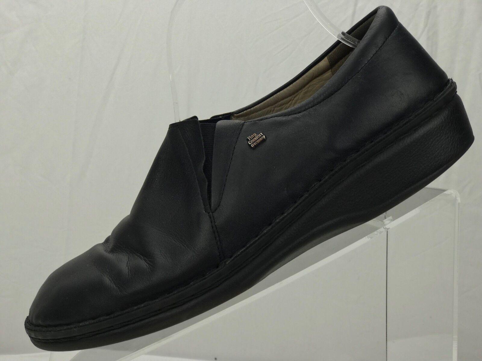 FINN COMFORT Newport Loafers- Slip-On Black Leather Shoe Germany Womens 40,9/9.5