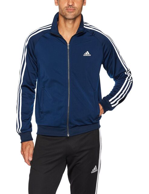 adidas Men's Essentials 3 Stripe Tricot Track Jacket, 8