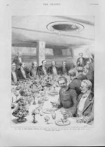 Original-Old-Antique-Print-German-Emperor-Dines-Royal-Yacht-Victoria-Albert-1892
