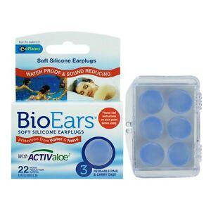 BIOEARS Soft Silicone ANTI-BACTERIAL EarPlugs Swiming 3pair Snoring Shower 41208