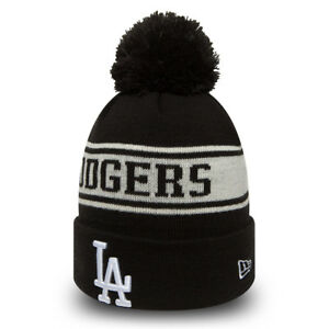 NEW ERA LA DODGERS JAKE NEYYAN BOBBLE HAT.MLB MENS WOMENS BLACK KNIT ... 2a7590ca1013