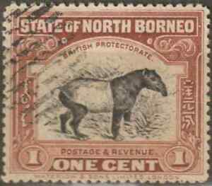 NORTH-BORNEO-1909-PICTORIAL-1c-BROWN-MALAYA-TAPIR-CTO