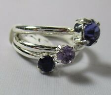 3 Ring Set Stack Amethyst Purple Shades Solitaire Cubic Zirconia Size 6 NWT T24