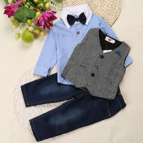 3pcs Kids Toddler Boys Gentleman Outfits Blouse+Vest+Jeans Party Clothing Sets