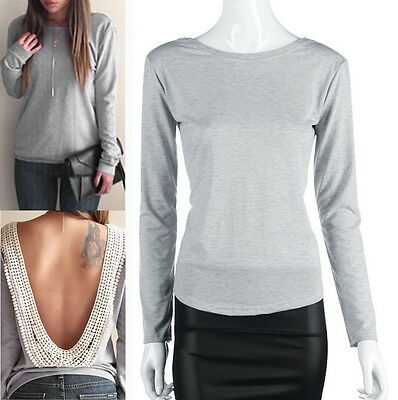 Fashion Womens Backless Long Sleeve T-Shirt Casual Blouse Tops Shirt Clothing GU