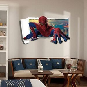 Captivating Image Is Loading 3D Spiderman Wall Stickers New Home Decor Cartoon