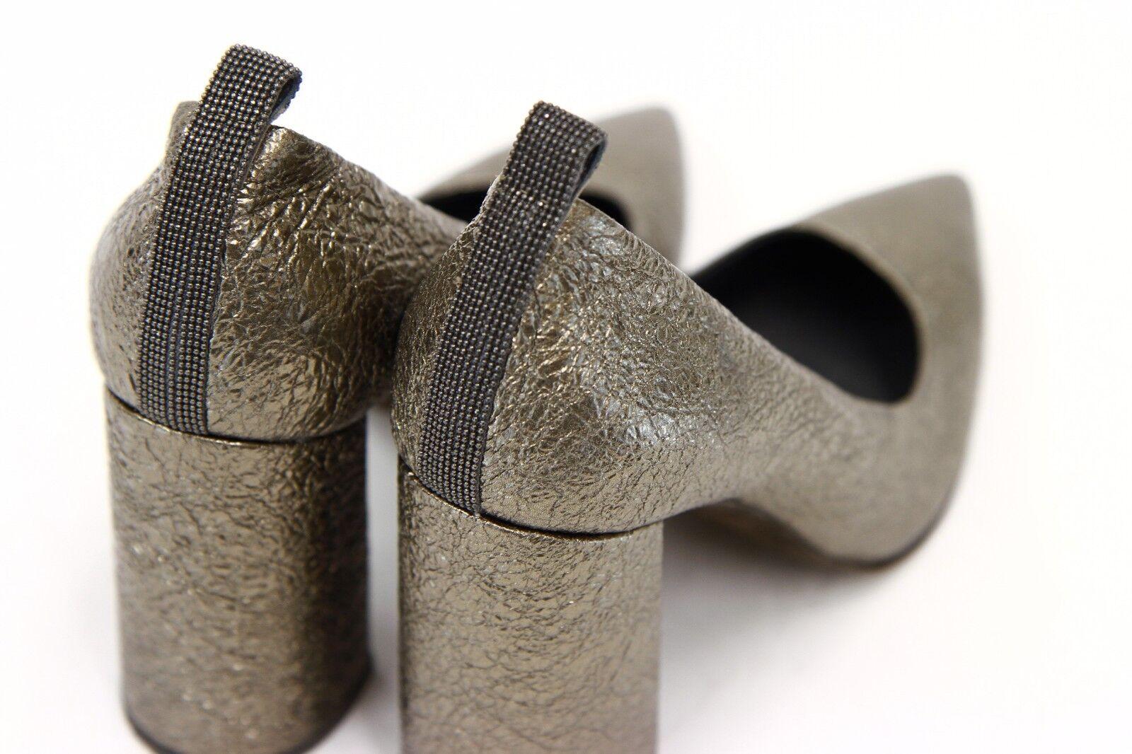 NWOB  1525 Brunello Cucinelli Metallic Leather Monili Beaded Beaded Beaded Pumps 37  7US  A181 883d72