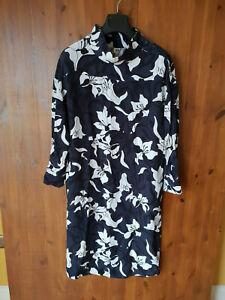JOHN-LEWIS-KIN-MIDI-DRESS-Kimono-Floral-Print-Shift-Grey-White-UK-10-38-VGC