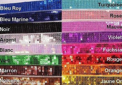 RUBAN GALON SEQUIN PAILLETTE BRILLANT ** 25 mm ** SACS FÊTES MODE COUTURE RÉTRO