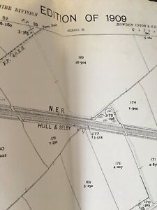1909 Antique Ordnance Map Plan BELLASIZE NER HULL SELBY & Doncaster Rail Lines