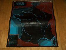 ANCIEN CARTE SCOLAIRE MDI-NOIRE-CÔTES de FRANCE-La SEINE et ses AFFLUENTS-1964