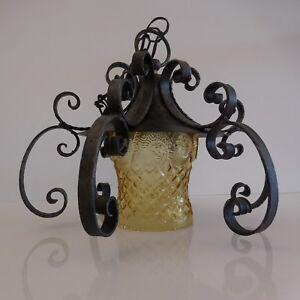 Lustre-suspension-verre-fer-forge-art-deco-art-nouveau-France