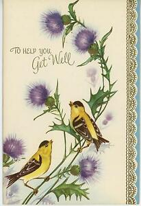 VINTAGE-CHICKADEE-BIRDS-PURPLE-THISTLE-GARDEN-FLOWERS-WILDFLOWERS-CARD-ART-PRINT