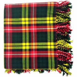 "HS Scottish Kilt Fly Plaid Buchanan Tartan Acrylic Wool 48/"" X 48/"" Purled Fringe"