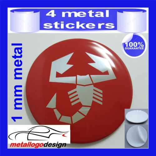 METAL STICKERS WHEELS CENTER CAPS Centro LLantas 4pcs ABARTH 3 chrome