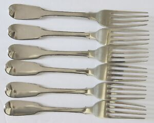 6-Antique-English-Fiddle-Pattern-8-034-Table-Forks-Eley-Fern-amp-Chawner-c-1813