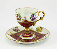 2pc. Limoges Porcelain Peint Main Footed Demitasse & Saucer; Gilt & Red.
