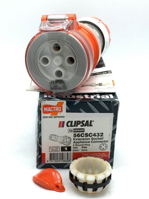Clipsal 56CSC432 Extension Socket 3 Phase 4 Round Pins 32A 500VAC IP66 Orange