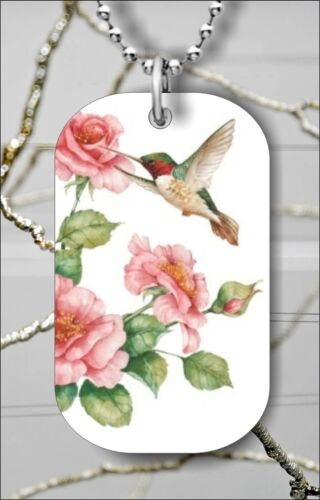 """BIRD HUMMINGBIRD FLY OVER ROSE FLOWER DOG TAG PENDANT and /""""FREE CHAIN/"""" ygh3Z"""