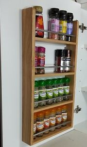 Image Is Loading SOLID OAK SPICE RACK 4 TIERS WOODEN BACK